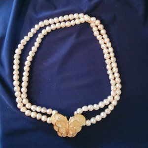 KJL Kenneth J Lane for Avon Papillion Collection Butterfly Faux Pearl Necklace